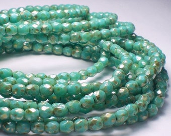 Turquoise Green and Silver Picasso Czech Glass Fire Polished 4mm Faceted Round Beads 50 pcs. 4mm/163