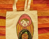 Nesting Doll Tote Bag - two sided - Red, Orange and Yellow