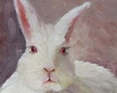 Oil Painting PRINT Animal Portrait White Bunny II  of Original Painting by Cheri Wollenberg