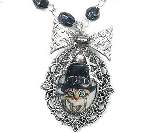 HUGE CLEARANCE SALE, Steampunk Puss Cameo Portrait Necklace