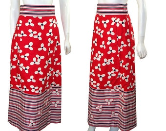 Vintage 1970s Red, White & Blue Maxi Skirt With Stripes, Flowers and Rhinestones