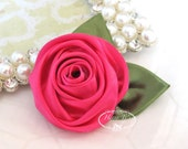 Set of 3 -  50mm Beautiful Rolled Satin Rose Rosettes with Forest Green Satin Leaves attached - HOT PINK Rose Fabric flowers