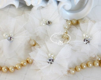 Elena TULLE - 4 pieces WHITE Small Tulle Mesh Flowers With rhinestone Pearl Center Poof Flowers Hair accessories