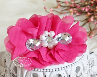 New: Reign Collection 2 pcs Silk Fabric Flowers with Rhinestones - Fuchsia Shocking Pink ,embellishments Layered Bouquet fabric flowers