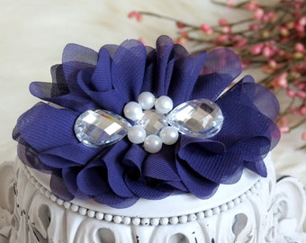 New: Reign Collection 2 pcs Silk Fabric Flowers with Rhinestones - Dark PURPLE floral embellishments Layered Bouquet fabric flowers
