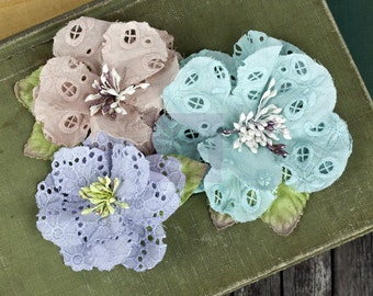 SALE CLEARANCE 20% off: Prima Tiara - Aqua 567187 Eyelet cotton fabric flowers with Stamen on center.