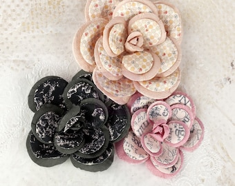 SALE CLEARANCE 30% off : Prima LYRIC 3 pcs  Large Rose Layered Mulberry Paper Flowers (565701)