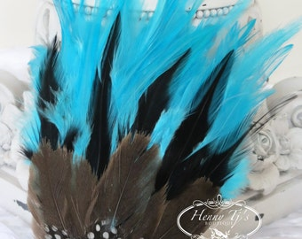 Combination Turquoise Blue, Black Hackle w/ Natural Guinea Feathers (FPI05) Feather Pad - Hackles Feather Pad - Millinery