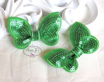 New: Set of 4 GRASS Green SEQUIN Butterfly BOW Appliques 2.25 inch size. Sequin Bow Knot Applique.