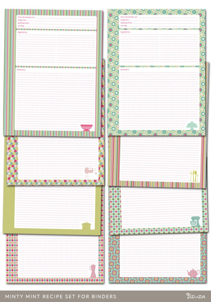 It is a picture of Amazing Free Printable Recipe Binder