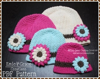 Bucket Hat Crochet Pattern, 8 Sizes from Newborn to Adult, ALLISON - pdf 229