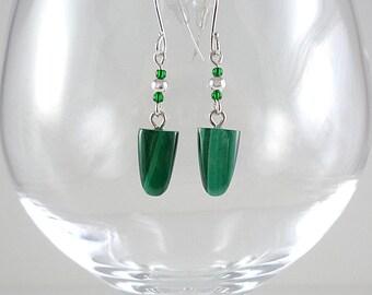 Malachite Earrings Gemstone Earrings Green Malachite and Silver Gemstone Earrings