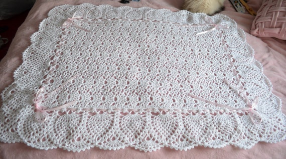Free Crochet Pattern Lacy Baby Blanket : White Lace Crocheted Baby Blanket Afghan Perfect for the