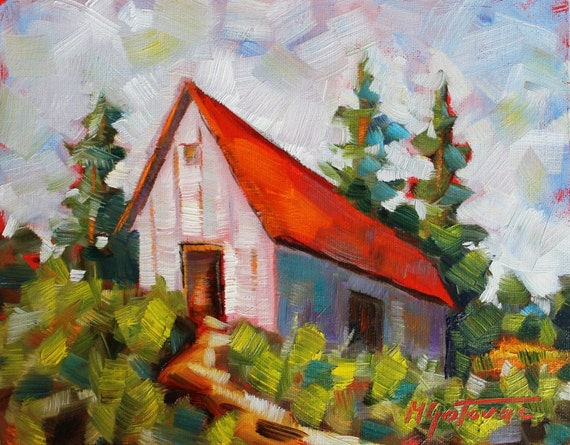 Price reduced original oil painting barn impressionism for Oil paint price