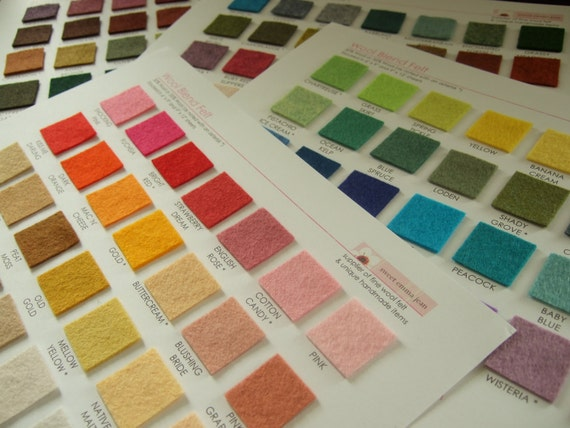 DIY Felt Color Card Set - Felt Swatches Organizer - printable PDF file