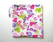 Gymnastics Grip Bag or Gift Bag Love Peace Signs Hearts Flowers Leopard Print