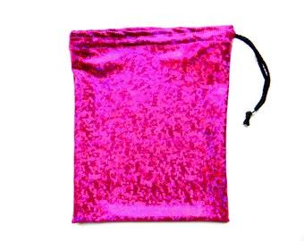 Gymnastics Grip Bag or Gift Bag Shiny Sangria Hologram Metallic Spandex Print