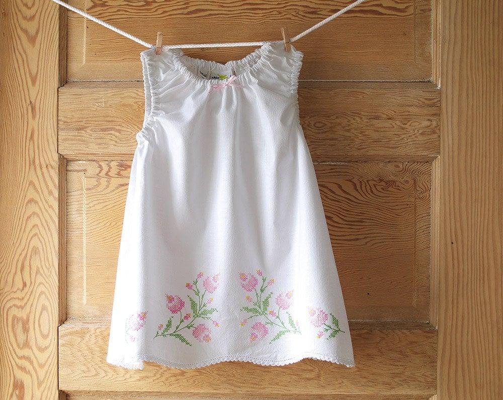 Handmade Baby Dress 24 m Vintage Pillowcase Dress Pastel