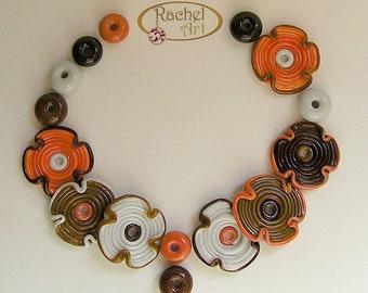 Lampwork Flowers Glass Beads, FREE SHIPPING, Handmade Lampwork Glass Disc Beads in Organic Shades and donuts beads - Rachelcartglass