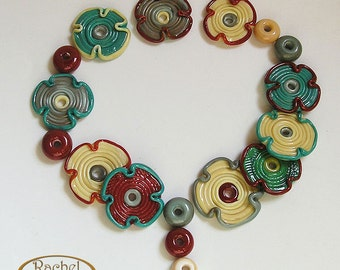 Lampwork Glass Flowers Beads, FREE SHIPPING, Teal, Red and Cream Glass Beads, Rachel cartglass