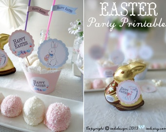 Easter Party Printables -  Cupcake Toppers and Wrappers