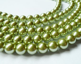 Olive Green Glass Pearl Beads 8mm Round Full Strand