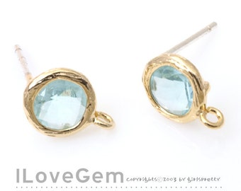 SALE/ 10pcs /  B112 Gold plated, Aquamarine, Glass, mini Disc, 7.6mm, earrings, 925 sterling silver post