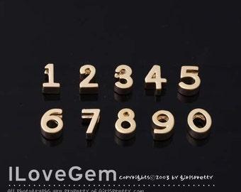0-9 / NP-1477 Matt Gold plated, Number, Pendant, 2pcs