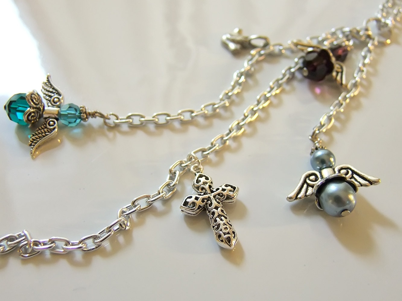 Guardian Angels Cross Dove Rear View Mirror Car By Ourbeadbox