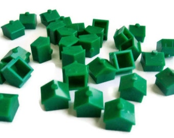 Vintage Monopoly Houses set of 30 Green