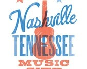 NASHVILLE MUSIC CITY Print - 8x10
