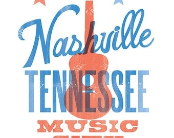 NASHVILLE MUSIC CITY Print - 8x10