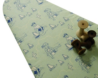 PADDED Ironing Board Cover made with Riley Blake Seaside scenes soft mint green and blue select the size