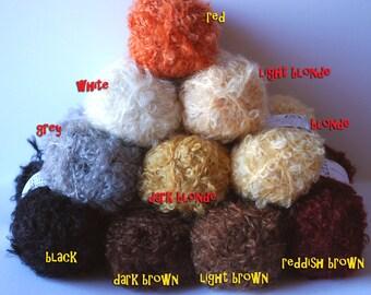 Mohair Bouclez Yarn, Doll hair, 10 colours
