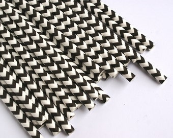 Black Chevron Striped Straws - Party Straws - Retro Paper Straws - Bar Cart Supplies
