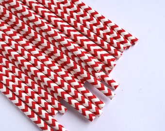 Red Chevron Striped Straws / Red Party Straws / Retro Paper Straws