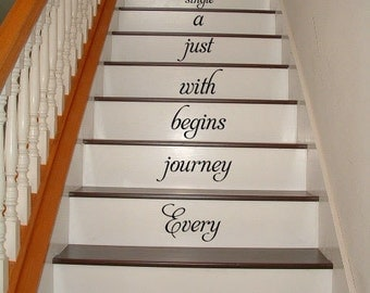 Every journey begins with STAIRS stairway Vinyl Decal Vinyl Decal Home Decor Door Wall Lettering Words Quotes