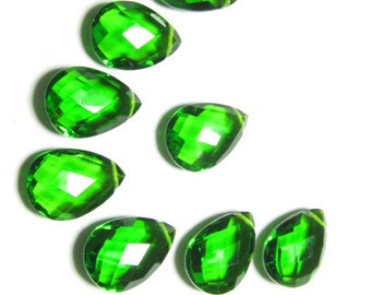 4 Matched Pair - AAAA - High Quality Gorgeous Emerald Green  colour Quartz Pear Briolett Super Sparkle Huge size - 10x14 mm - drilled