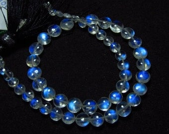 Awesome - AAAAA  High Quality So Gorgeous - Rainbow Moonstone - Smooth Polished Coin Briolett Full Blue Fire Clear size 3.5 - 6.5 mm -51 pcs