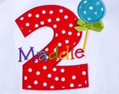 Girls' Birthday Lollipop in Primary Colors Shirt or Bodysuit