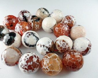 Gemstone Bead, Agates, Heat treated, dragon scale faceted Large rounds, 15mm  6 pcs