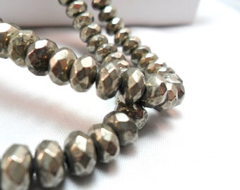 Gemstone, Large Pyrite Fools Gold Faceted  Rondelles,10x7mm