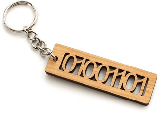 """ASCII Code Binary Letter """"M"""" Keychain - 01001101 - Geekery  Sustainable Black Cherry Wood . Timber Green Woods"""