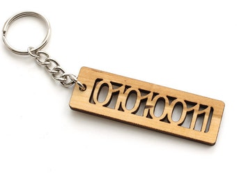 """ASCII Code Binary Letter """"S"""" Keychain - 01010011 - Geekery Key Fob Made in the USA with Sustainable Black Cherry Wood - Timber Green Woods"""