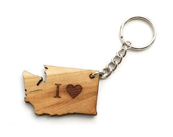 I Heart Washington Keychain - Sustainable Black Cherry Wood . Timber Green Woods