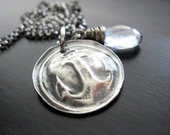Nautical Anchor Fine Silver Necklace Blue Mystic Quartz Briolette Oxidized Silver