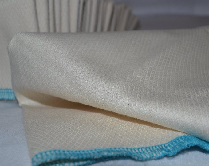 1 Ply Organic Cotton Paperless Towels - 14x14 inches - Unpaper Towels - Organic Birdseye Cotton - Your Choice of Edging Color and Quantity