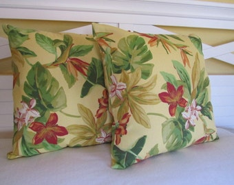 SALE - Outdoor Tropical Flowers - 18x18 (set of 2) Pillow Covers Only-JD Designs