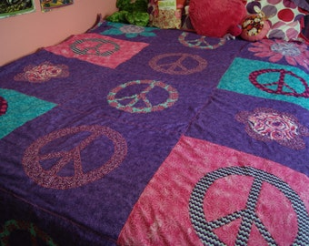 Peace Signs and Flowers Minky Blanket, Twin Size Quilt with Your Choice of Colors to Match any Decor, 60 x 90