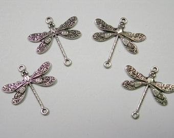 Silver Plated Dragonfly Victorian Earring Drops Findings Stampings -4